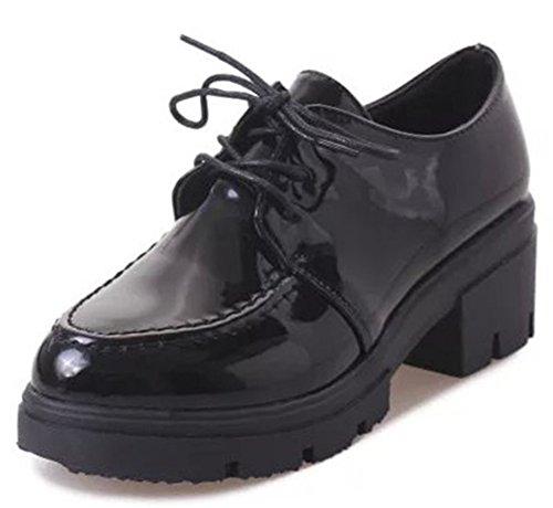 IDIFU Women's Fashion Lace Up Chunky High Heel Platform Oxfords Shoes Black 7 B(M) US by IDIFU