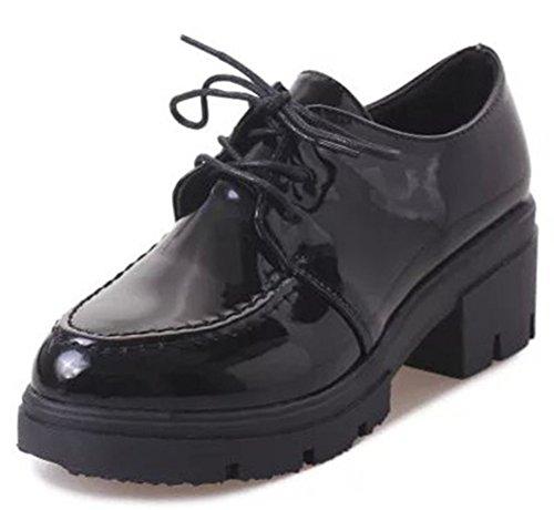 IDIFU Women's Fashion Lace Up Chunky High Heel Platform Oxfords Shoes Black 7 B(M) US by IDIFU