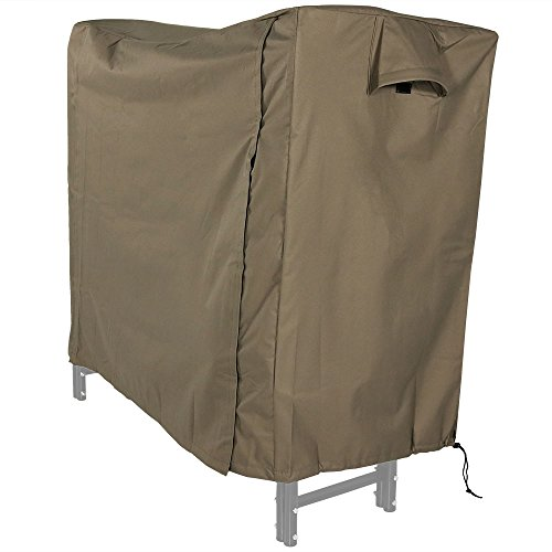 Sunnydaze Firewood Log Rack Cover, Outdoor Waterproof Heavy Duty Wood Cover, Khaki, 5 Foot (Classic Accessories Veranda Log Rack Cover 8 Feet)