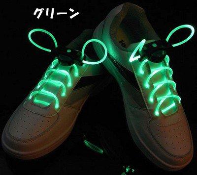 【光る靴ひも】フラッシュ ストリング(グリーン) LED ランニングシューズ 靴紐 緑