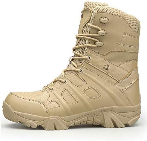 JIN Armee-Militärstiefel Patrol Leder Kampfstiefel Cadet Security Outdoor Wanderschuhe Landing Tactical Shoes,Beige-40