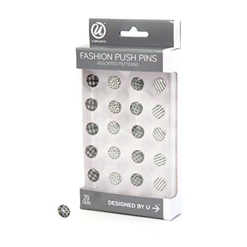 Pins Push Swingline (U Brands Fashion Steel Push Pins, Black White and Gray Fashion Colors, 20-Count)