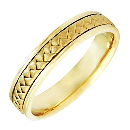 18K Yellow Gold Braided Basket Weave Men's Comfort Fit Wedding Band (5.5mm) Size-14c1