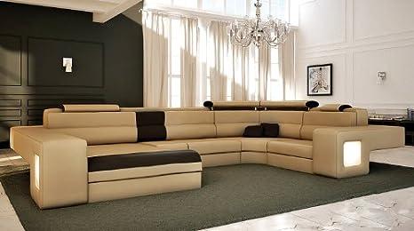 Amazon.com: Diseño italiano Seccional sofá moderno – Miel ...