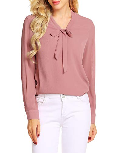 - ACEVOG Neck Blouse,Dark Pink,XXL