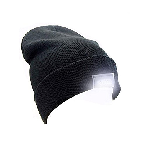 Rotus Unisex Ultra Bright 5 LED Lighted Beanie Cap, Popular Winter Outdoor Hand Free Flashlight Knitted Warm Hat for Hunting, Camping, Running, Jogging & Handyman Working (Black)