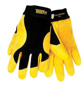 Tillman X-Large Black And Gold TrueFit Full Finger Top Grain Cowhide Premium Mechanics Gloves With Elastic Cuff, Double Leather Palm, Reinforced Thumb And Smooth Surface Fingers (Cuff Grain)