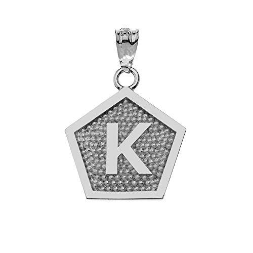 LA BLINGZ 14K White Gold Alphabet Letter Initial Pentagon Pendant (Letter K)