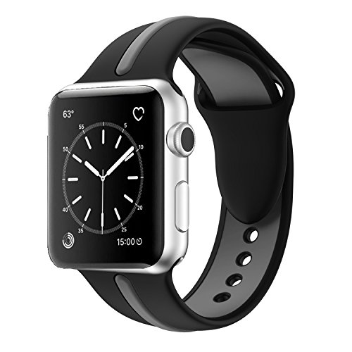 Apple Watch Band, Solomo [Sport Series] Fashion iWatch Strap Soft Durable Silicone Replacement Stripe Color Splicing Style with Women / Men Wristband for Apple Watch Nike+, Series 3 /2 /1 (42MM Black) -  YuanHeng Digital Technology Co.,Ltd, AWBSSAO42BK