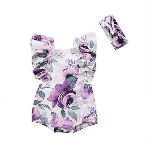 Infant Newborn Baby Girl Bodysuit Ruffled Floral Sleeveless Romper Jumpsuit Clothes Summer Outfit (Purple, 9-18 Months)
