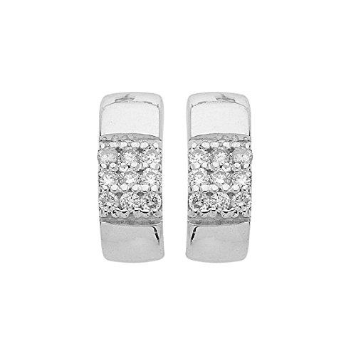DIAMANTLY Boucles d'oreilles or gris 375 demi-Creoles or 375 pavage diamant