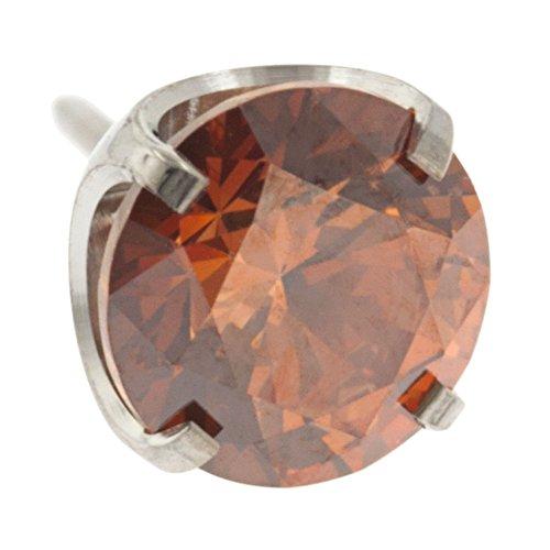Caramel Gems - Steel Navel Body Jewelry Threadless Titanium Prong-Set Faceted Gem End: 18g High Polish, Gem: 3mm, Caramel Gem