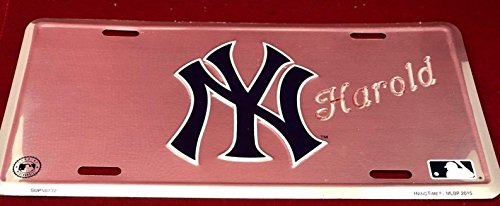 (Mirror Mania NY Yankees Personalized Custom License Vanity Plate Free Engraved Auto Car Tag NY Yankees MLB Baseball License Plate Beautifully Designed and Specially Made, Car Wash Safe)
