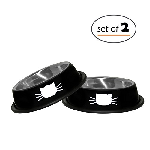 Cat Bowls Set By Petfuren - Non-Skid Stainless Steel Cat Dish 8 Ounce with Black Color and Cute Cat Face for Pet Food & Water Bowl (Set of 2)