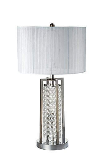Milton Greens Stars A6730WH Somsak Modern Crystal Table Lamp with Night Light, 28-Inch, White - Excursion Crystal