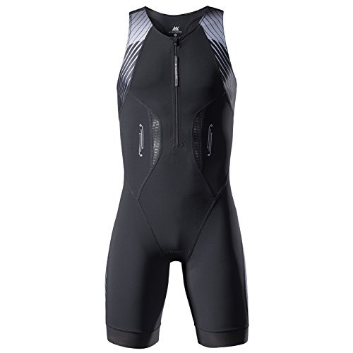 (My Kilometre Men's Triathlon Trisuit Elite Skinsuit Compression Speed Race Suit 2 Pockets (Black S))