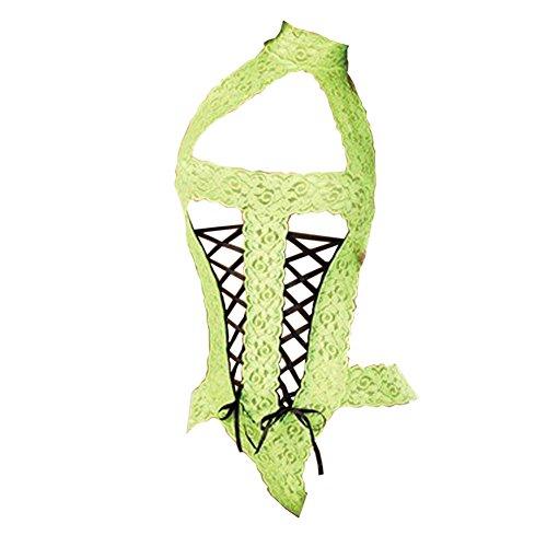 [HQ Sexy Lingerie Lace Teddy Babydoll Dress Underwear Sleepwear-green] (Wire Bra Costume)