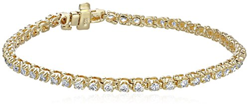 14k Yellow Gold Diamond Miracle Plate Tennis Bracelet (2 cttw, K-L Color, I1-I2 Clarity), 7