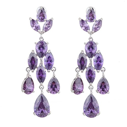 HongHu CZ Teardrop Dangle Amethyst Color Bridal Wedding Elements Crystal Purple Earrings