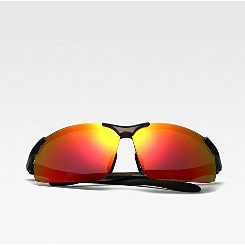 Un del de polarizador Tamaño de Sol Gafas rojo de Aluminio Gafas magnesio del Sol de Las wei Negro tZBwUxqnC
