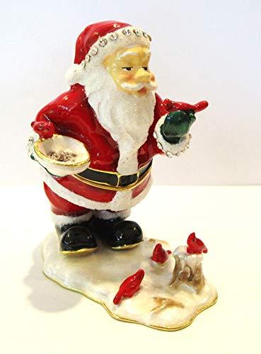Kubla Santa Claus w Cardinal Birds Jeweled Hinged Enamel Trinket Box Collectible