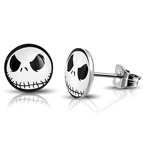 10 MM Stainless Steel Jack Skellington Round Circle Button Stud Post Earrings]()