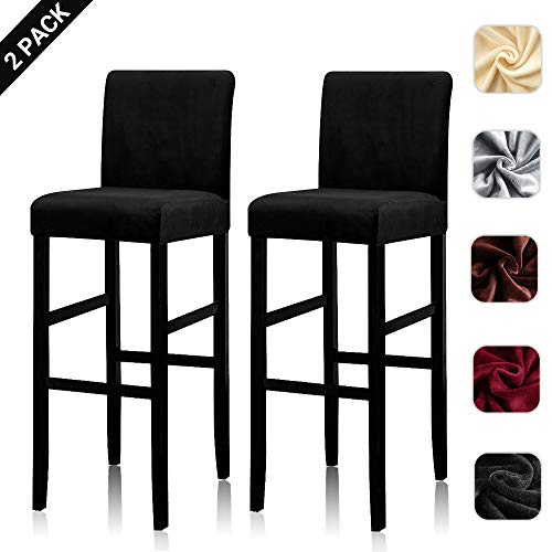 Lellen Counter Stool Pub Chair Covers Slipcover Velvet Stretch Removable Washable Dining Chair Covers (2 PCS, Black)