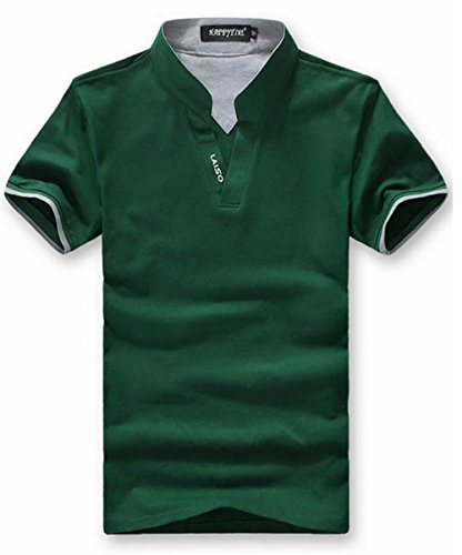 GuDeKe夏 ポロシャツ メンズ トップス 半袖 プルオーバー プリント ボーダー カジュアル ゴルフウエア メンズファッション