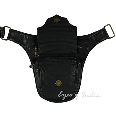 Brown Leather Belt Bum Hip Waist Pouch Bag Utility Fanny Pack Pocket Travel Eyes of India