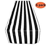 Yansanido Plastic Picnic Party Tablecloth,6 Pack Plastic Picnic Tablecloth 54 Inch. x 108 Inch. Rectangle Table Cover (Black White Stripe)