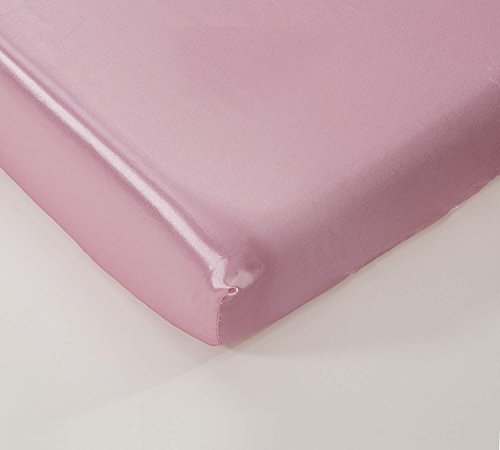 - California Drapes Soft & Silky Satin Crib Fitted Sheet, Great for Babies with Sensitive Hair, Fully Elastic All Around for A Secure Fit (Light Pink)