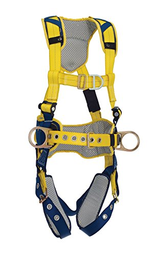 Belt with Pad Navy//Yellow Capital Safety Tongue Buckle Leg Straps and Comfort Padding 3M DBI-SALA DeltaComfort 1100632 Fall Arrest Kit with Back//Front//Side D-Rings Small