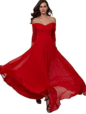 Sisjuly Women's Off Shoulder Chiffon Evening Dresses Pleated Prom Gown