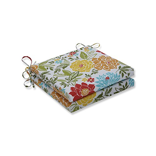 - Pillow Perfect Outdoor/Indoor Spring Bling Multi Squared Corners Seat Cushion 20x20x3 (Set of 2)