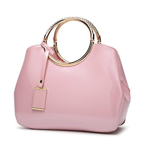 Mefly Pintura facial brillante Bolso Satchel Bag Bolso All-Match azul Royal Pink