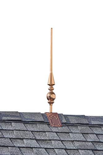 "Good Directions 755T 28"" Aragon Pure Copper Decorative Roof Mount Finial, w/Deco"