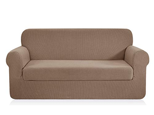 - CHUN YI Jacquard loveseat Covers 2-Piece Stretch Polyester Spandex Fabric Couch Slipcover, 2 Seater Cushion Sofa Furniture Protector for Couch (Loveseat,Camel)