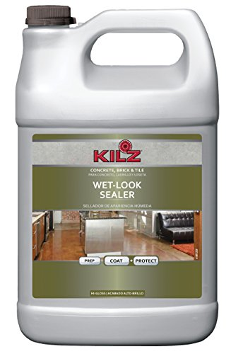 KILZ L390201 Interior/Exterior Concrete, Brick, and Tile Liquid Masonry Sealer, Wet Look (High-Gloss), Clear, 1-Gallon, 1 gal, 4 l