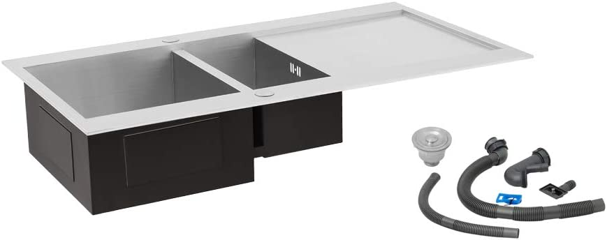 XEMQENER Stainless Steel Kitchen Sink Handmade Basin Single Bowl 700x450x210mm Small Sinks with Silencer Pad for Kitchen Bar Small restaurant with the downpipe Kit