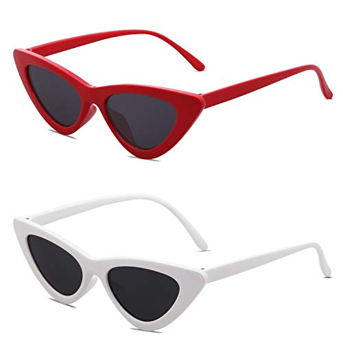 SOJOS Retro Vintage Narrow Cat Eye Sunglasses for women Clout Goggles Plactic Frame Cardi B with Red Frame/Grey Lens + White Frame/Grey Lens 2 Pairs of Sunglasses