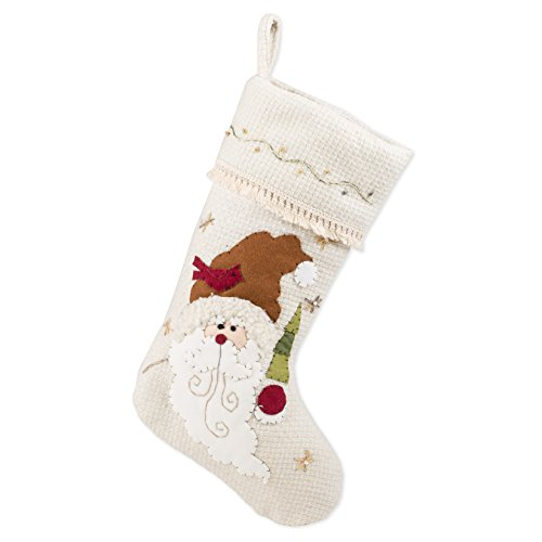 19 inch Santa Claus Face Applique with Tree on Ivory Embroidered Cuff Christmas Stocking