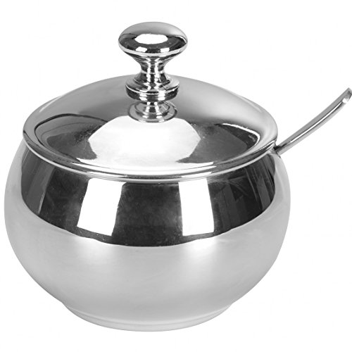 HardNok Stainless Steel Sugar Bowl with Lid and Spoon,9.8 OZ (290 ML)