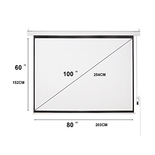 Cloud Mountain HD 100 inch 4:3 Home Office Projector Screen Electric Motorized Matte White Projection Screen, Remote Control Home Movie Theater TV 1.3 Gain by Cloud Mountain (Image #5)