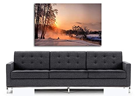Printelligent Canvas Wooden Box Framed Painting Landscape An Evening In December Canvas Art High Definition 14 X 20 Inch Amazon In Home Kitchen