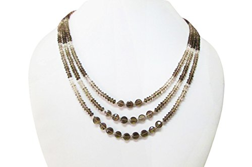 Designer Multi strand Smoky quartz beaded necklace, Gemstone Beaded jewelry ()