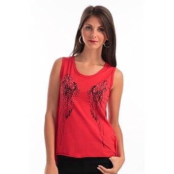 DEBARDEUR ROUGE DENTELLE  Amazon.fr  Vêtements et accessoires 87c8a12be63
