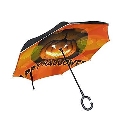 Sunmoonet Reverse Umbrella, Happy Halloween Funny Jack Lantern, Outdoor Windproof Double Layer Inverted Umbrella Rain Protection Upside Down Car Reverse UV Umbrellas for Men Women