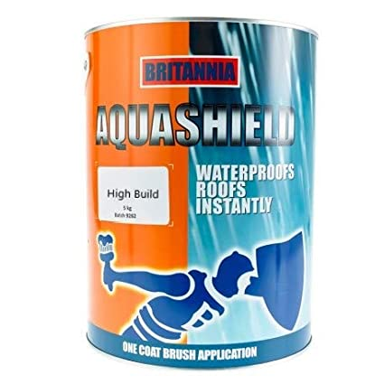 Aquashield High Build Liquid Coating with Fibres for Instant Waterproofing Protection - Available in Grey, Black & Solar Reflective White (2.5KG, Black) Britannia Paints