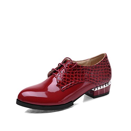 Pekte Lave Claret Hæler Solid Voguezone009 sko Snøring Pumper Kvinners Lukket Toe Pu wCtcaHqZx
