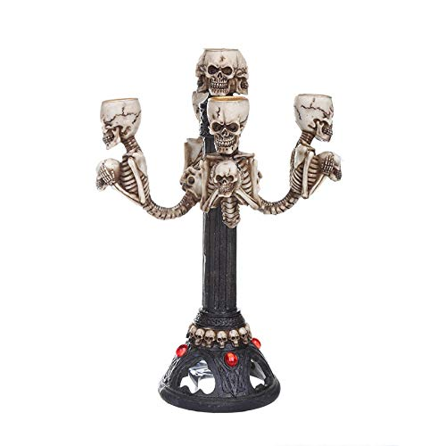 GAOQQ Resin Skull Candle Holder for Tables, Halloween Home Decoration Candlestick]()